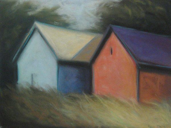 Karen Jones painting Twin Barns two A-frame buildings among tall grass