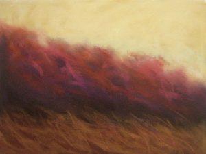 Karen Jones painting Yellow Sky with red trees