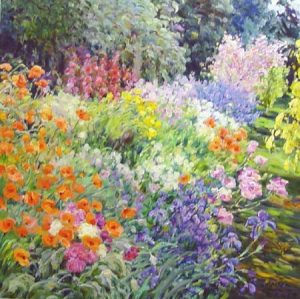 Omar Hamdi Malva Painting Colorful Wildflower Garden (32x32 oil on canvas)