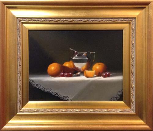 Oranges & Silver Framed (16x19 framed oil on canvas)