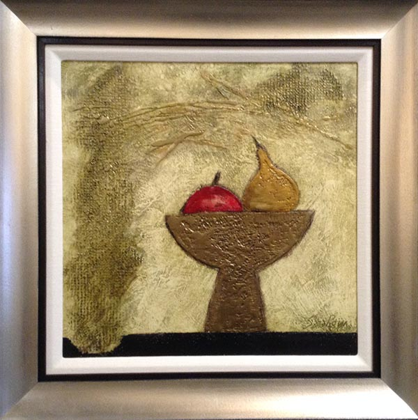 Framed Sarah Rosen painting of an apple and a pear in a fruit bowl