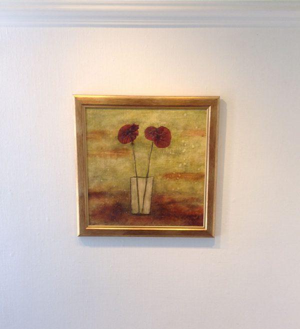 Sara Rosen framed encaustic painting of poppies in vase