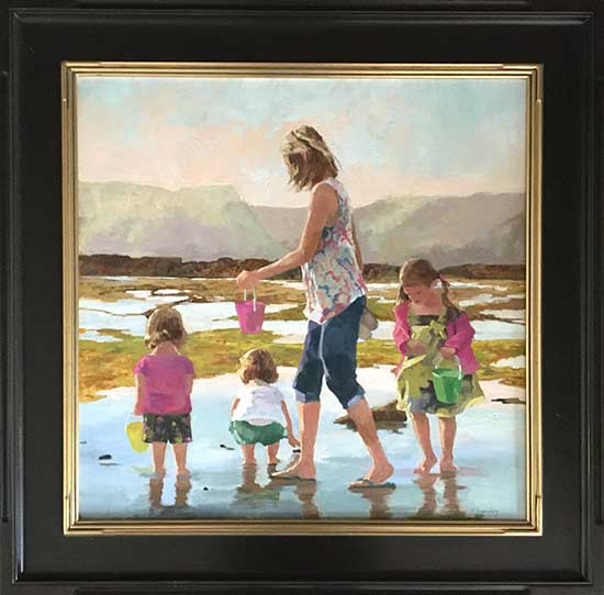Maryalice Eizenberg Shell Seekers Framed (32x32 frmd oil on canvas)