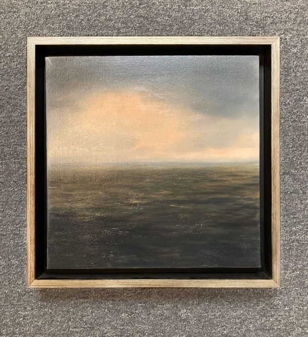 Framed Suzanne Clifford-Clark painting of ocean and clouds