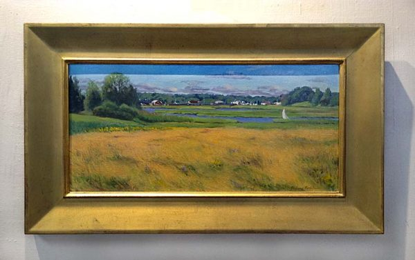Hilary Baldwin framed painting overlooking field and river with boats