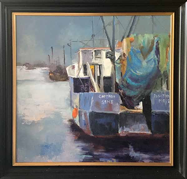 Pat Foster - Captain Sam - Framed Painting of a boat docked in harbor