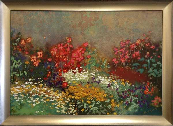 Aleah Koury - Floral Garden Framed (28x39 frmd serigraph on paper)