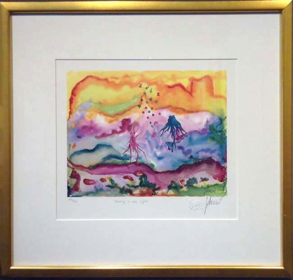 Framed Jerry Garcia - Feeding in the Light - abstract underwater sea life in gold frame
