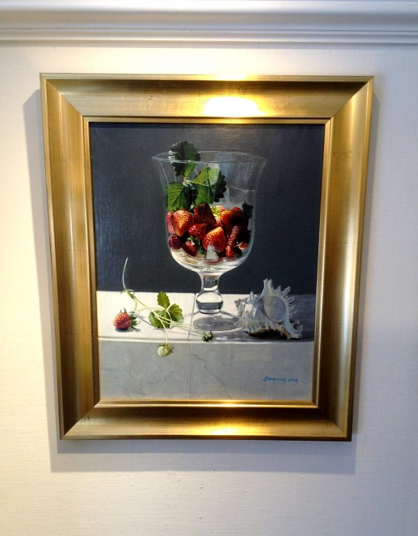 framed Fenming Ding painting of strawberries in a glass with a conch shell
