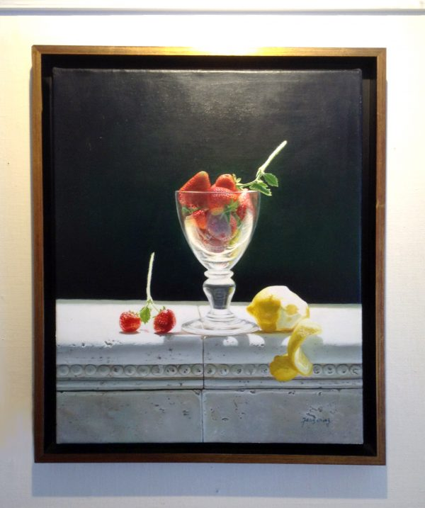 framed Fenming Ding painting of strawberries in a glass with half peeled lemon