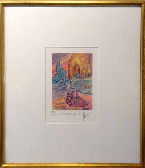 Framed Jerry Garcia - Northern Lights - abstract caves with windows and stairs in gold frame
