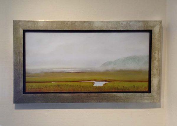 Ken Northup framed painting of foggy marshland