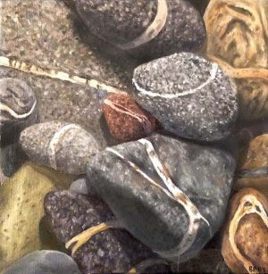 Ryan Penney small realistic painting of gray and brown beach stones