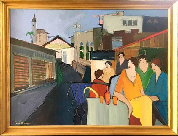 Itzchak Tarkay - framed oil painting of women sitting in a city cafe