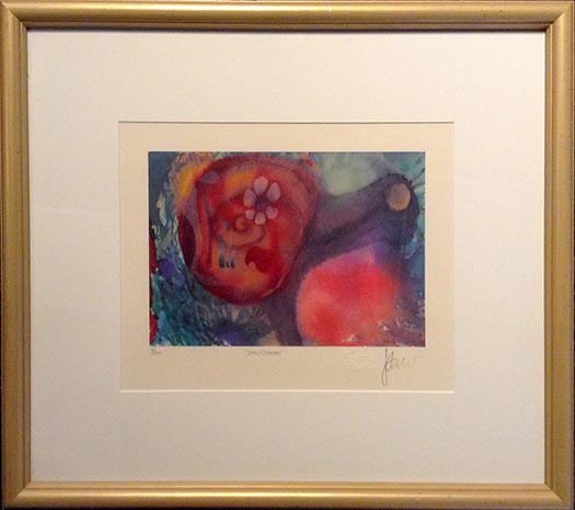 Jerry Garcia - Snail Garden framed colorful psychedelic abstract print of snail with red