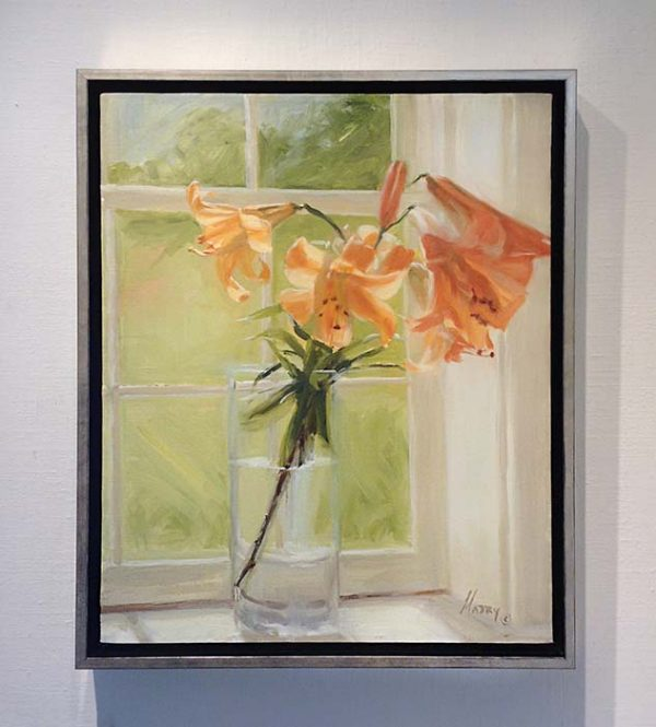 Mary Mabry framed painting of daffodils on a windowsill