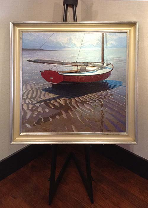 Robert Bolster framed painting of boat at low tide