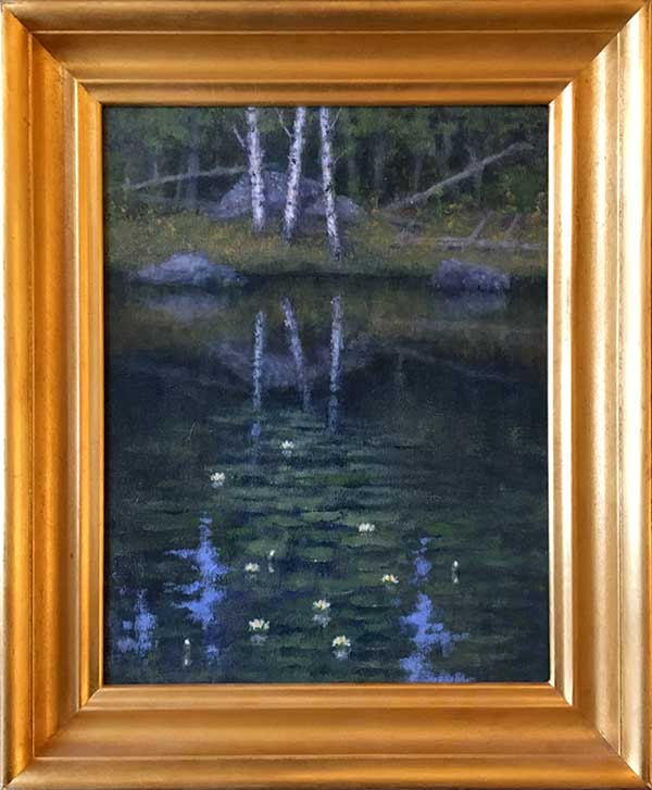 Framed George Marks Oil Painting of Lush Trees and Pond