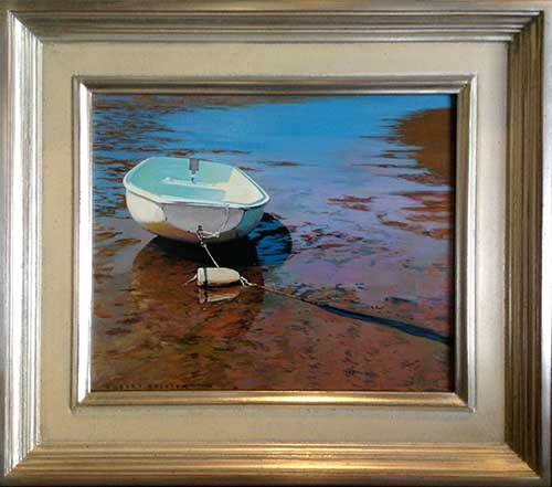 Framed Robert Bolster Traditional Realistic Oil Painting of Boat in Shallows