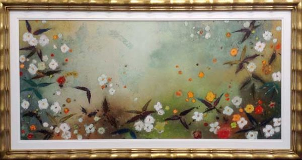 Framed Aleah Koury Pastel on Paper of Abstract Flower Garden in Green