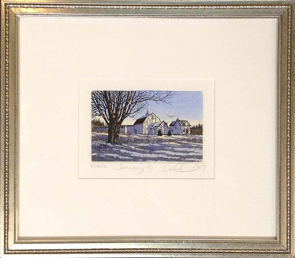 Framed Carol Collette January - etching of white farm house with tree in winter snow