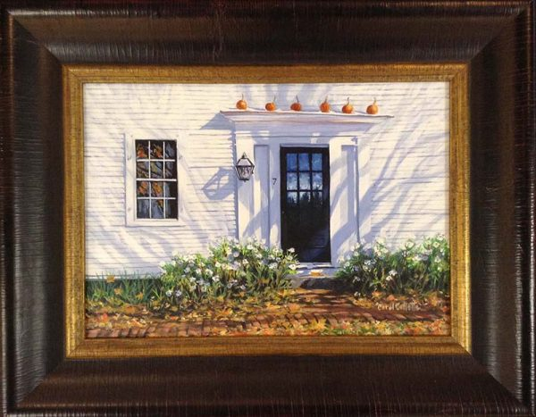 Carol Collette framed oil painting of white house with pumpkins on front stoop