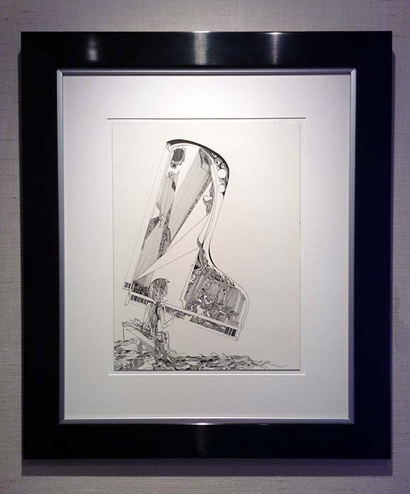Gary Smith framed pen and ink drawing Jazz Perimeters