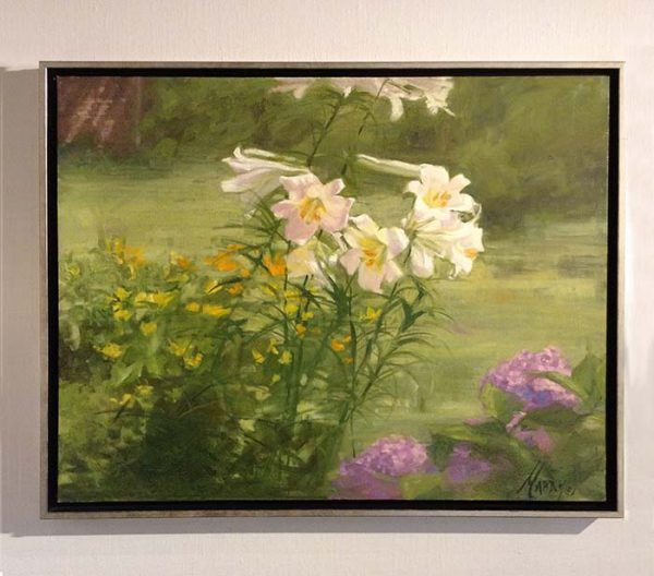 Mary Mabry framed painting of garden with flowers