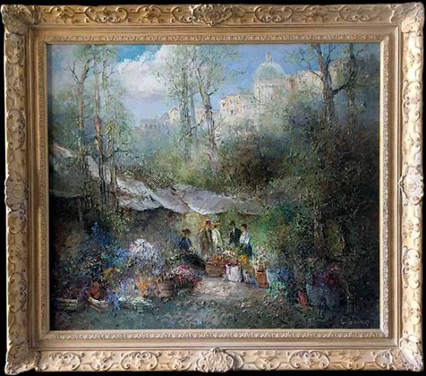 Willi Bauer Framed Traditional Painting of a European flower market