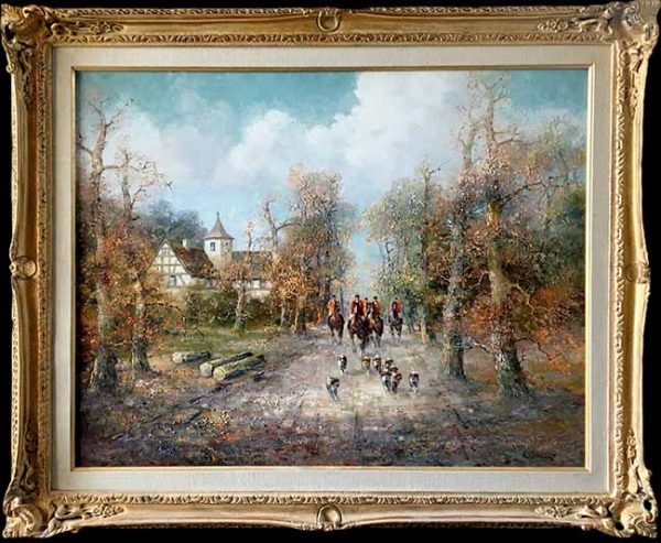 Willi Bauer Framed Tradition painting of a hunting scene with hounds and horses