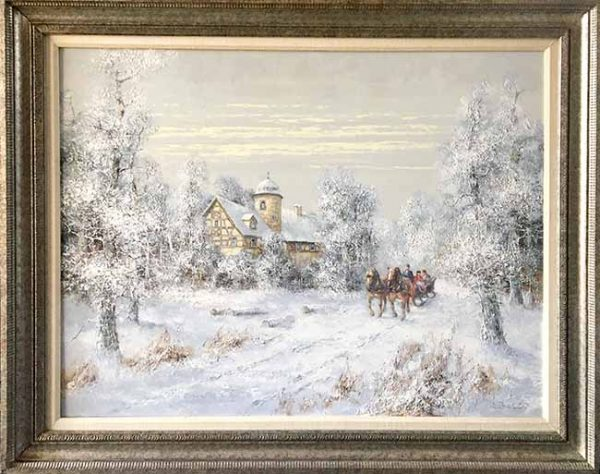 Willi Bauer Framed traditional winter landscape painting of a sleigh ridge in the snow