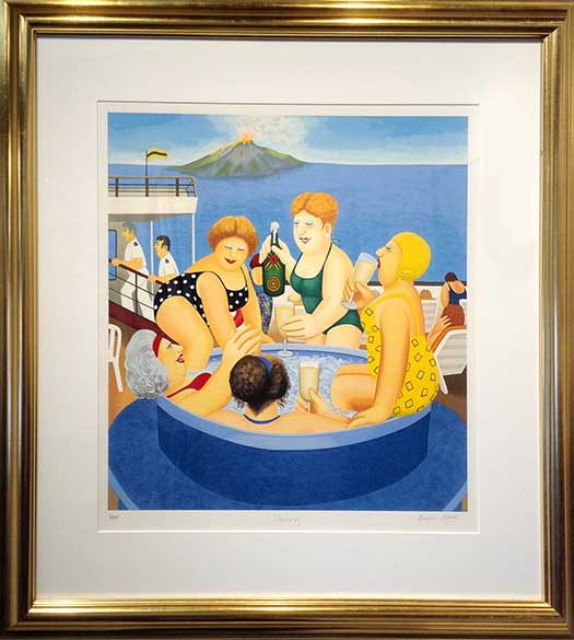 Framed Beryl Cook print of women in a hot tub with a volcano and ocean in the background