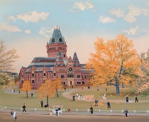 Michel Delacroix Limited Edition Lithograph of Memorial Hall Primative