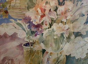 Dorothy Ganek contemporary floral still-life watercolor painting