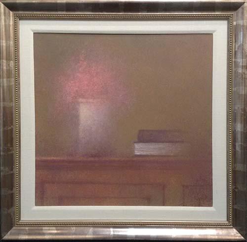 Renzo Crociara Framed Still Life with Book (26x26 frmd oil painting on board)
