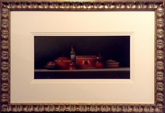 Framed Still Life with Red China (18x26 frmd pastel)