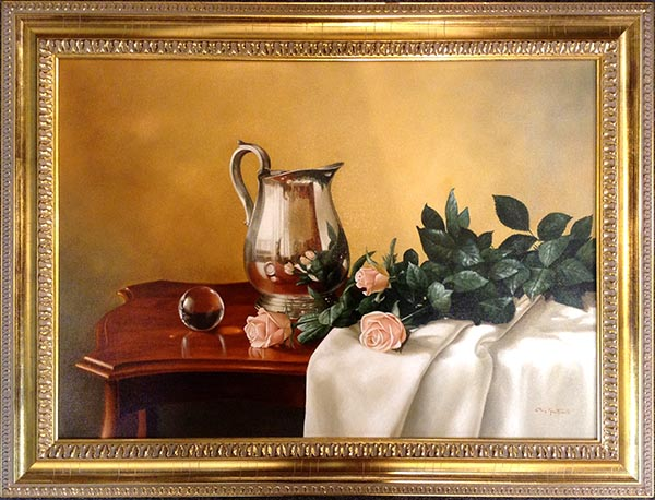 Elena Gualtierotti framed still life of Silver Pitcher and Roses