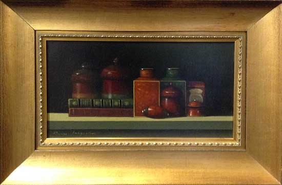 Still Life with Two Books Framed (12x18 frmd oil on canvas)