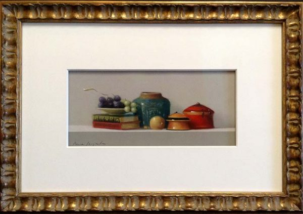 Pierre Jacqueline - Still Life with Grapes Framed painting of jars books onion and grapes