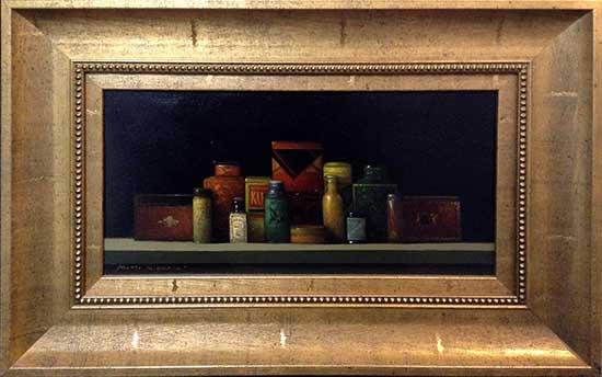 Tins Framed (15x22 frmd oil on canvas)