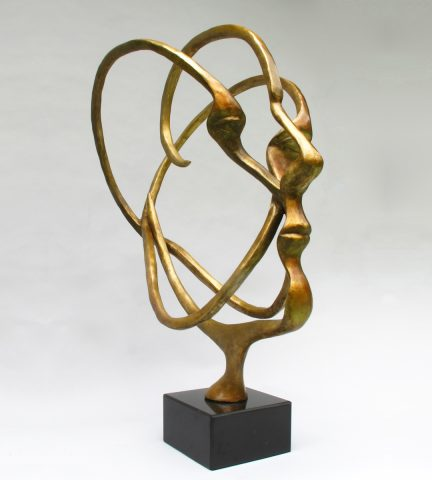 Michael Alfano - Atomic Bronze Sculpture of Head Face Abstract Figure Bust