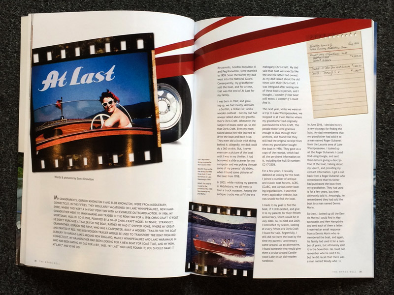 Framed magazine article about restoration of a Chris Craft boat