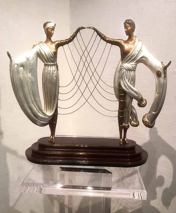 Erte sculpture The Wedding bride and groom connected by thin chains