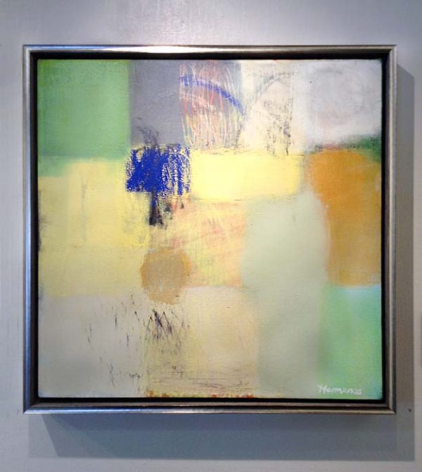 Ellen Hermanos framed painting of abstracted blocks of color