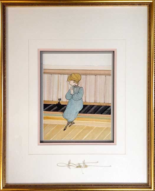 P. Buckley Moss framed watercolor painting of a cat
