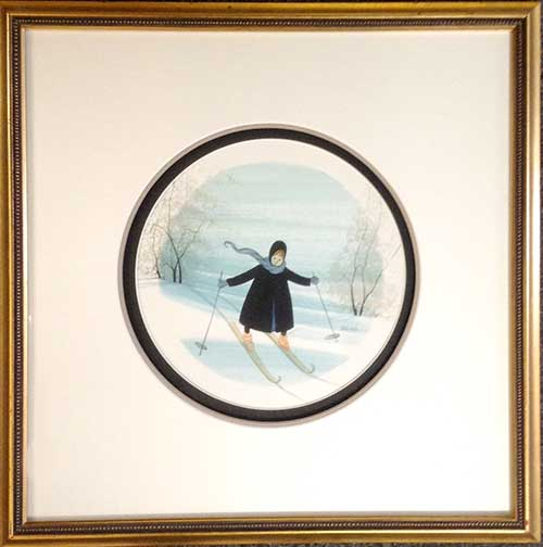 P. Buckley Moss Framed Watercolor Painting of a skier