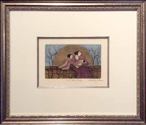 Framed P. Buckley Moss etching of a New Baby