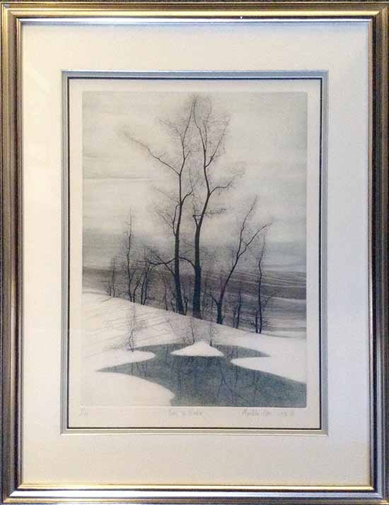 Framed Pat Buckley Moss etching of Trees in Winter