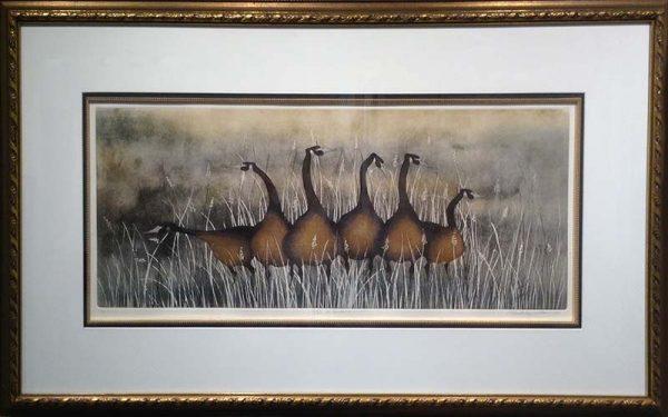 P Buckley Moss Framed Watercolor of Geese Keeping Watch on Brown Field