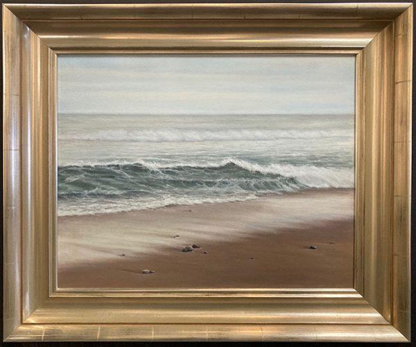 framed Antonia Peeples painting of ocean wave with grey sky